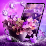 Download Shiny Purple Flower Theme 1.1.4 APK For Android